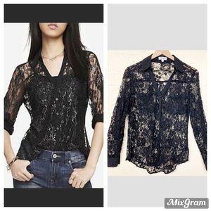 Express black lace sheer button up portofino shirt